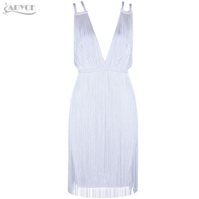 Women Mini Dress White Sleeveless Spaghetti Strap Tassel Vestidos Celebrity Evening Party Dresses Clubwear