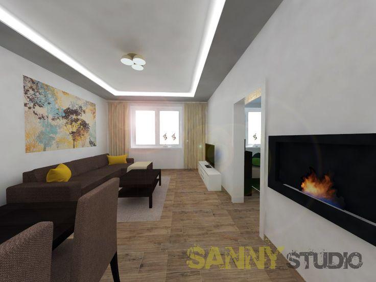 Návrh interiéru spoločenskej časti 3 izbového bytu v Rači v Bratislave