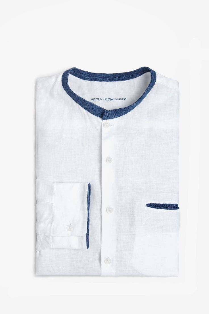 Contrasting Linen Shirt - casual shirts | Adolfo Dominguez