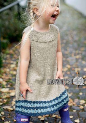 Красивое теплое платье спицами для девочки от 2 до 8 лет