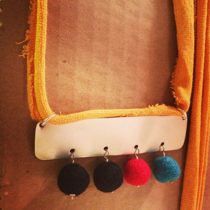 Handmade felt necklace with adjustable length