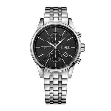 1513383 Ανδρικό κλασικό quartz ρολόι HUGO BOSS με χρονόμετρο, μαύρο καντράν & μπρασελέ | Ανδρικά ρολόγια BOSS ΤΣΑΛΔΑΡΗΣ στο Χαλάνδρι #Boss #jet #χρονογραφος #ανδρικο #ρολοι