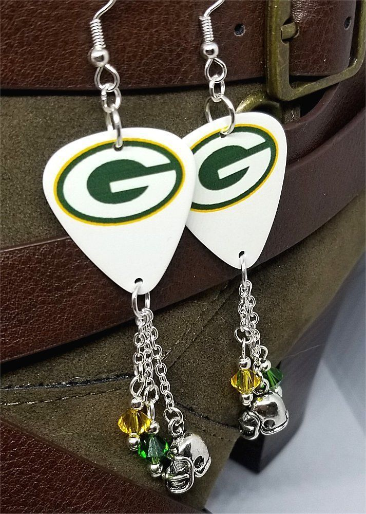 9ea21ce5b NFL Green Bay Packers Guitar Pick Earrings with Charms and Swarovski  Crystals #Handmade #Chandelier