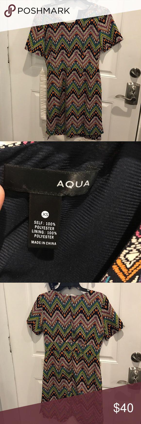 Aqua multi color short dress, xs. NWOT Aqua Dress multi colored short sleeve dress. Never worn. Size XS. Excellent condition Aqua Dresses Mini