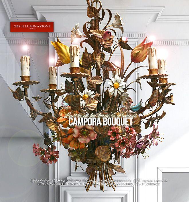 Lustre en fer forgé. Campora Lustre Bouquet 6 Lampes   GBS Firenze  Campora Bouquet de GBS, lustre en fer forgé, feuille d'or, or patiné et émail vieilli. Harmonie de tulipes, de marguerites, de géraniums, de lys, de clématites, d'aubépines et de boutons de roses. Lustre version 6 Lampes. GBS FLORENCE – MADE IN ITALY