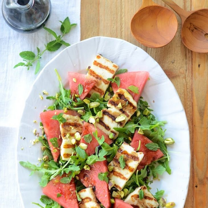 Grilled Haloumi & Watermelon Salad Recipe Salads with fresh mint, extra-virgin olive oil, haloumi, seedless watermelon, baby arugula, pistachios,…
