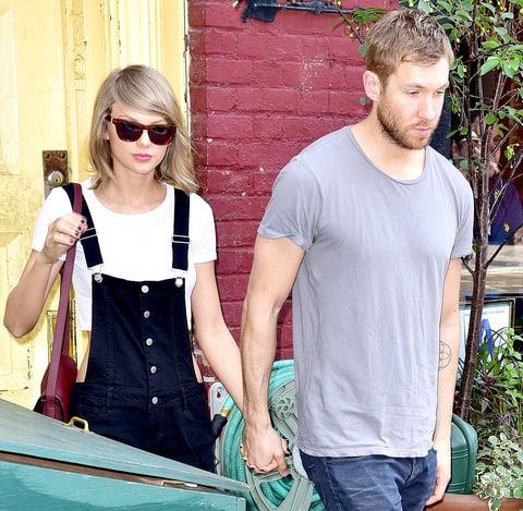 Taylor Swift and Calvin Harris leave the Spotted Pig restaurant on May 28, 2015 in New York City.