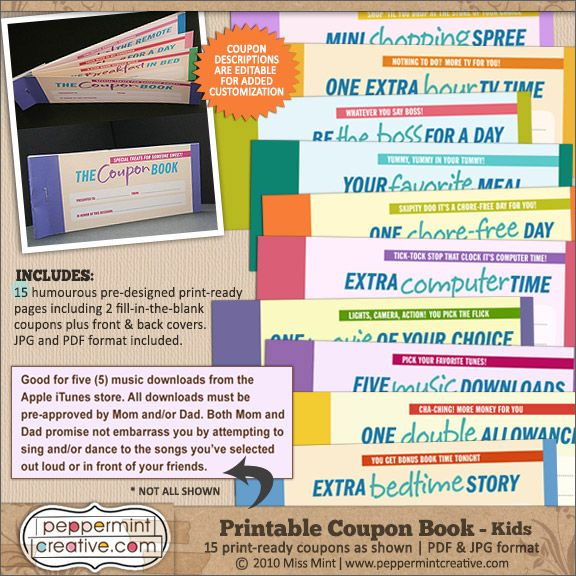 Coupon Book Kids - $795  Peppermint Creative, Digital Scrapbook