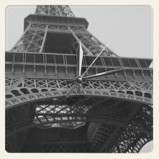 Paris Eiffel Tower Add a touch of French flair to any room with this great Paris landmark Eiffel Tower black and white travel photography clock.