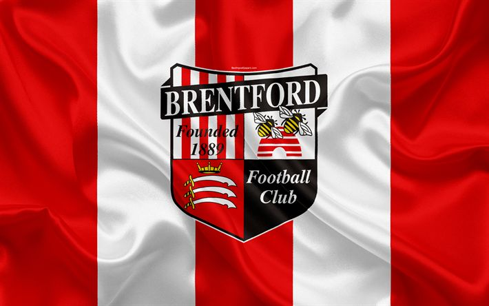 Download wallpapers Brentford FC, silk flag, emblem, logo, 4k, Brentford, England, UK, English football club, Football League Championship, Second League, football