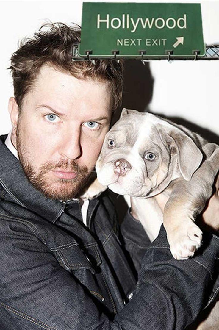 Actor Nick Swardson with Shrinkabull's Lilac English Bulldog