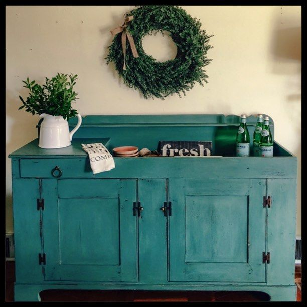 Good SOLD Authenic Vintage Farmhouse Sideboard/Dry Sink Painted In The Olde Barn  Milk Paint Custom Mix Distressed Pick Up Only