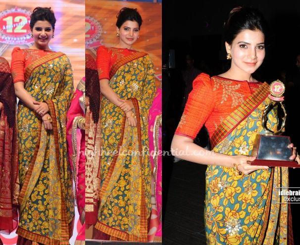 samantha-sashikant-naidu-santosham-awards-2014Samantha attended the Santosham Awards on Saturday night in Sashikant Naidu wearing the kalamkari sari with Suhani Pittie earrings and palm cuff.