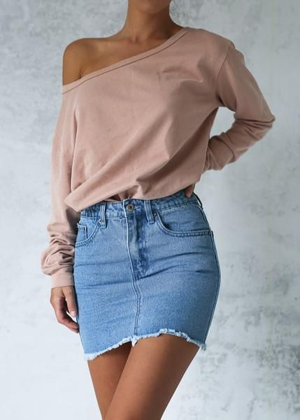 Jeans Skirt Combs Blue Short Skirt Powder Single Shoulder Front Long Sleeve Blouse