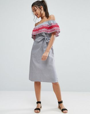 ASOS Off Shoulder Midi Sundress in Stripe Cotton with Embroidery