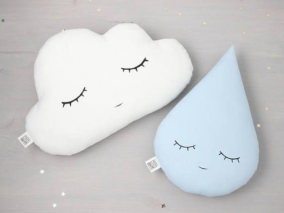 Kinderzimmer Kissen Wolke Und Tropfen Tropfenkissen Wolkenkissen