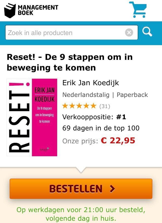 Geweldig, het boek 'RESET!' van Erik Jan Koedijk staat op verkooppositie 1 van de Bestsellerlijst van Managementboek. Gefeliciteerd Erik Jan! #reset #erikjankoedijk #mgtboeknl #futurouitgevers
