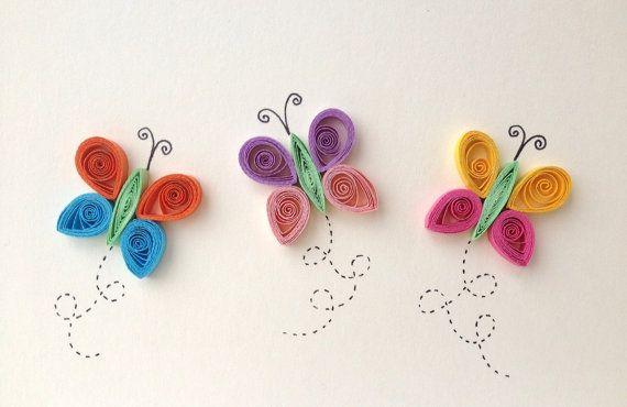 Artículos similares a Quilled, tarjeta, mariposas Quilled, artículos de papel, inmóvil, primavera, insectos, mariposas en Etsy