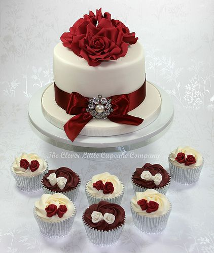 Burgundy and Ivory Wedding Cakes by The Clever Little Cupcake Company, via Flickr