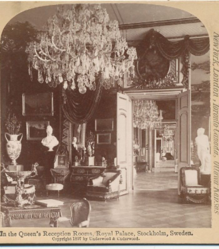 Royal Palace Stockholm Sweden Queen's Reception Room Underwood Stereoview 1897
