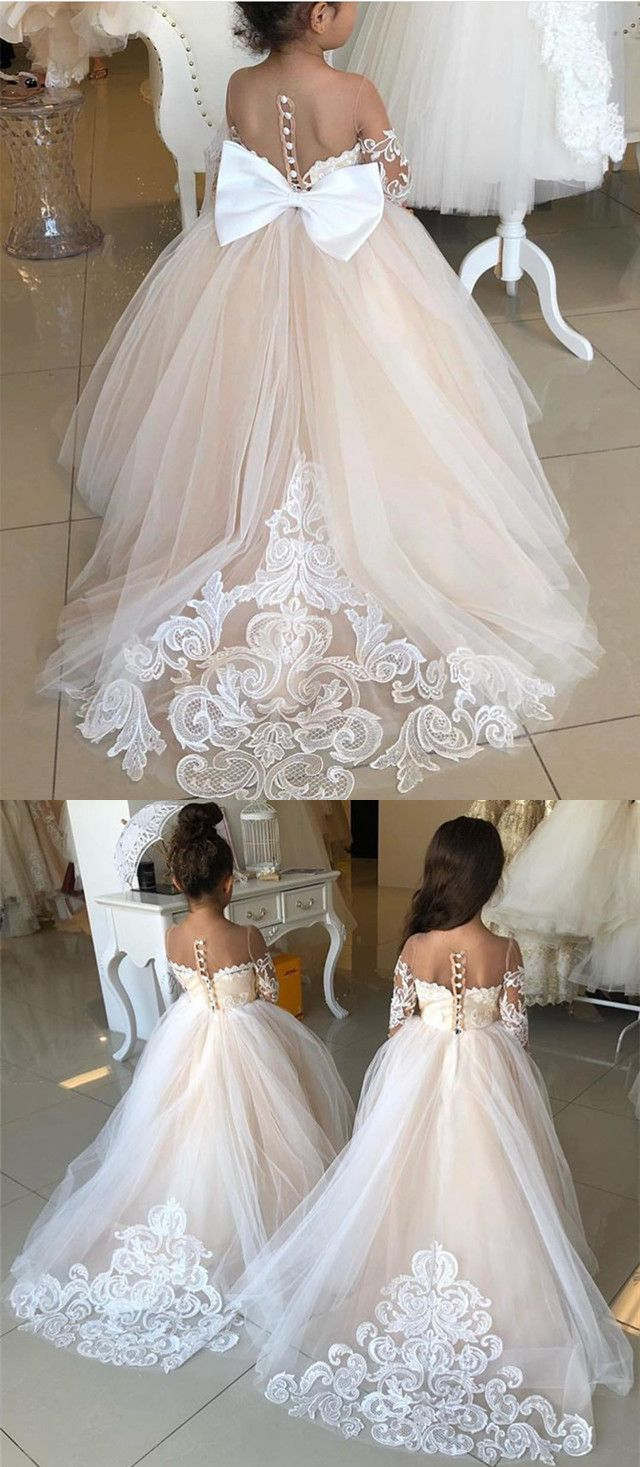 140e6509baf Vintage Illusion Long Sleeves Princess Ball Gown Flower Girl Dresses Lace  Train