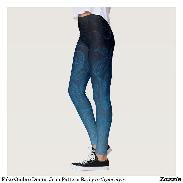 Fake Ombre Denim Jean Pattern Big Paisley Mosaic Leggings, Hippie Style