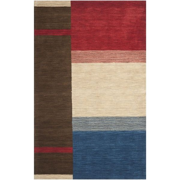 Safavieh Handmade Himalaya Brown/ Multicolored Wool Gabbeh Rug (5' x 8')