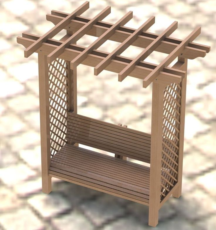 bench with built in arbor | Garden Arbor Trellis with Bench Woodworking Plans - Easy to Build
