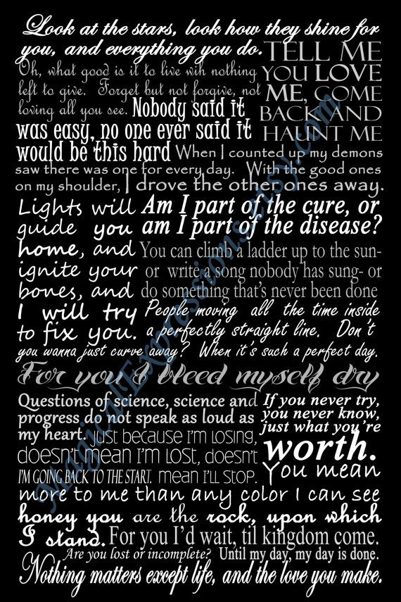 Coldplay Typography Song Lyric Art Print 11 by MagicalExpressions, $30.00