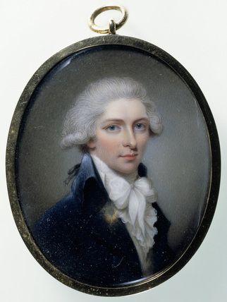 SIR JOHN ST AUBYN, 5TH Bt., MP, FSA portrait miniature by Henry Bone,1795: