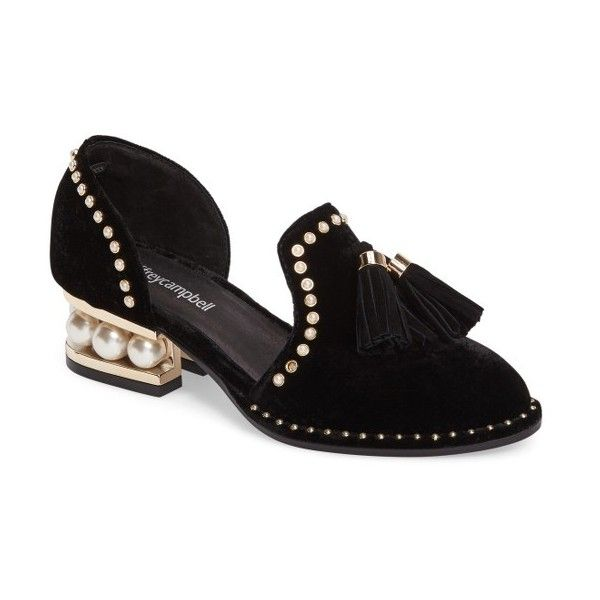 Women's Jeffrey Campbell Civil Studded Loafer ($195) ❤ liked on Polyvore featuring shoes, loafers, bead caps, velvet loafers, black caps, tassel loafers and black tassel loafers