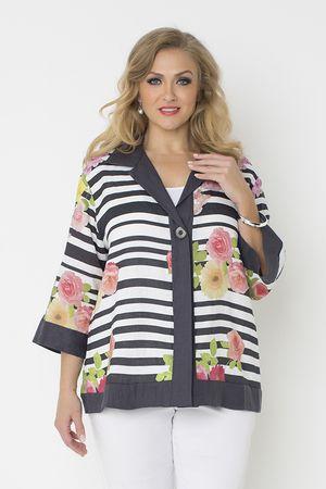 5409 Roses N Stripe Linen Jacket