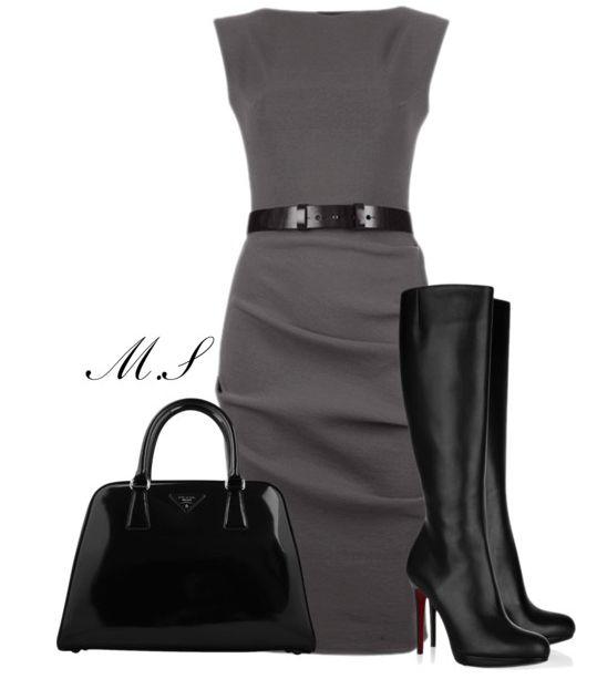 1. Caché grey dress + hight heel boots