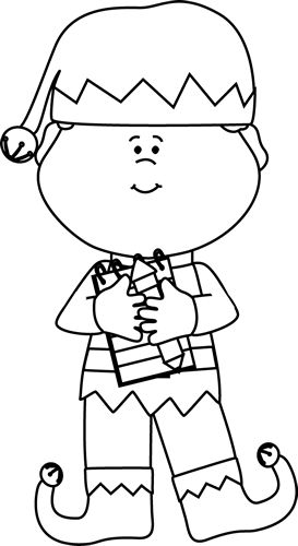 Black And White Boy Christmas Elf Clip Art