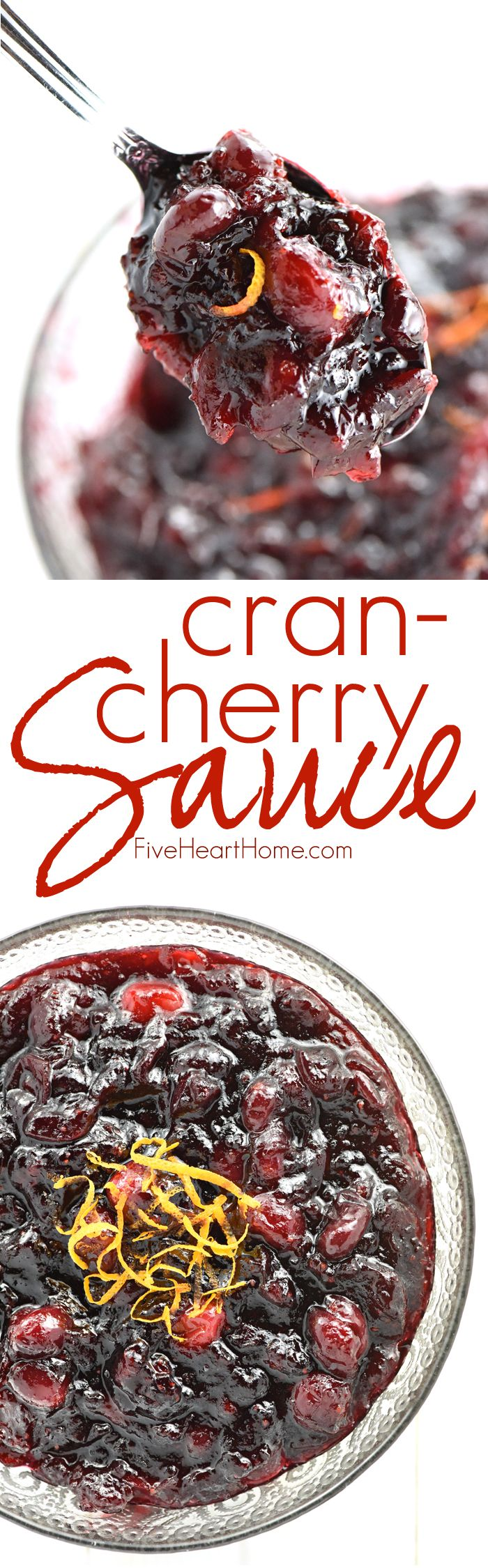 Cran-Cherry Sauce ~ sweetened with honey and brightened with citrus, this tasty twist on homemade cranberry sauce strikes a perfect balance between tart cranberries and luscious cherry preserves, making it the perfect addition to your Thanksgiving table! | FiveHeartHome.com