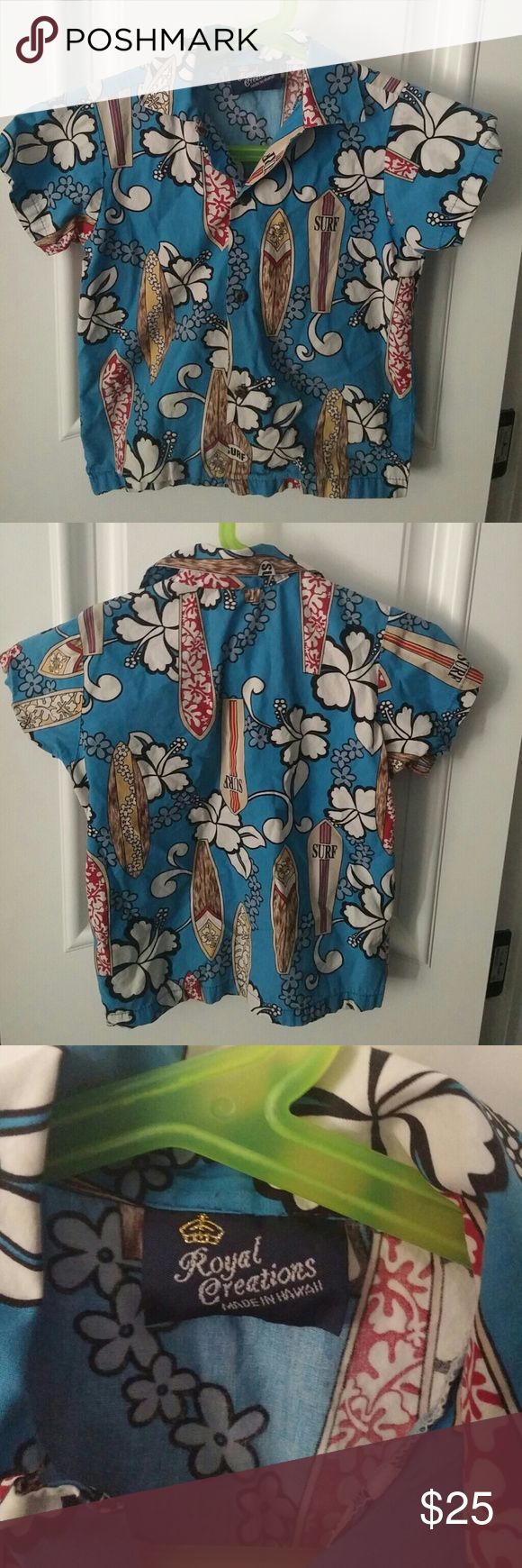 Vintage youth Hawaiian shirt Vintage boys Hawaiian shirt made in Hawaii.  No size tag, but I'm guessing a young boys 4-6.  My son is average size and weight and wore it when he was 5 and 6 yo Royal Creations Shirts & Tops Button Down Shirts
