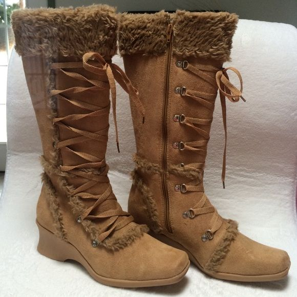 Camel swede winter boots Winter is on its way!!!!! These boots will take you through it....with a wedge heel for comfort and style , laces that tie all the way up the front of boot and zipper on the inside which makes them easy to get on and off these camels wade boots are a great addition to anyone's collection!!! Carrini Collection Shoes