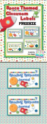 Classroom Journal Labels - Space Theme - FREEBIE - 4 different labels
