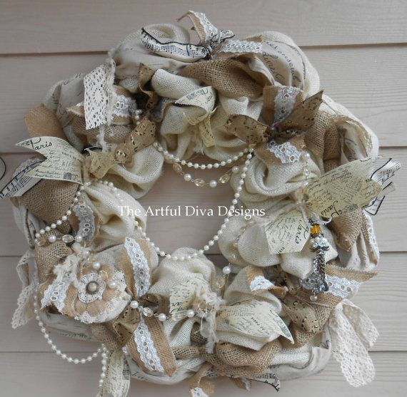 Cream and Natural Burlap Wreath with Lace and Pearls, Designer Ribbon, shabby chic, romantic