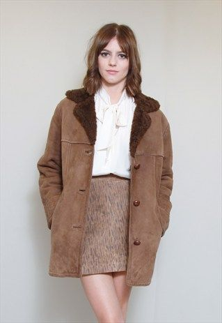 Vintage+1970's+Soft+Brown+Faux+Sheepskin+Coat