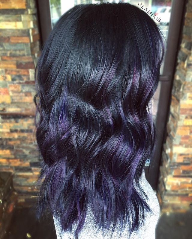 Oh gloomy skies, why you gotta be so rude?   Low maintenance painting aka Balayage. Metallic Violet + Blues.  Asian hair lookin mighty virgin.