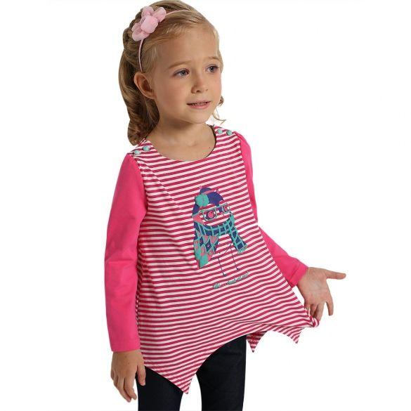 Arshiner Kids Girl's Long Sleeve Strped Patchwork Print Irregular Hem Casual Top Blouse $16.19 Free Shipping!
