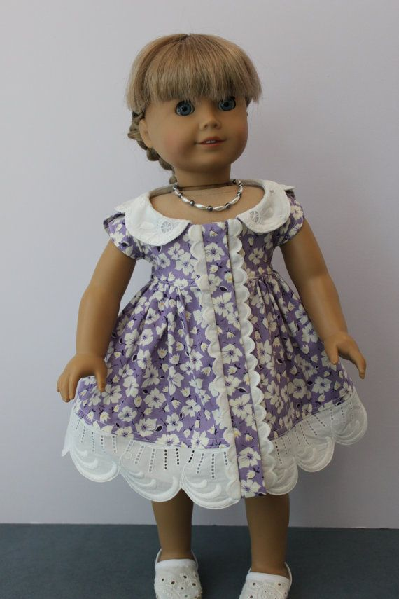 American Girl Doll Clothes -- Contemporary Summer Dress in Lavender and White Floral Print with Vintage White Trim & Necklace -- C159. $60.00