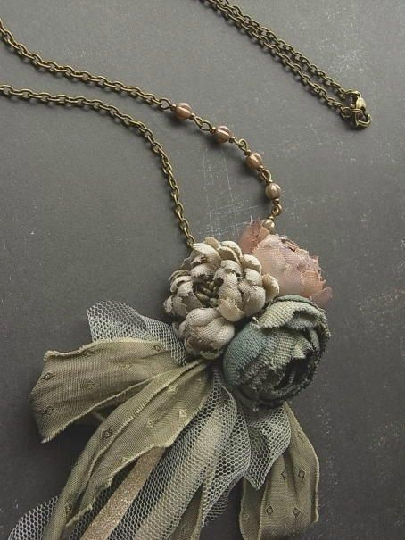 petite bouquet necklace - ash rose - hand dyed - antiqued rose necklace, fabric flower necklace, rustic colors, boho, tattered necklace