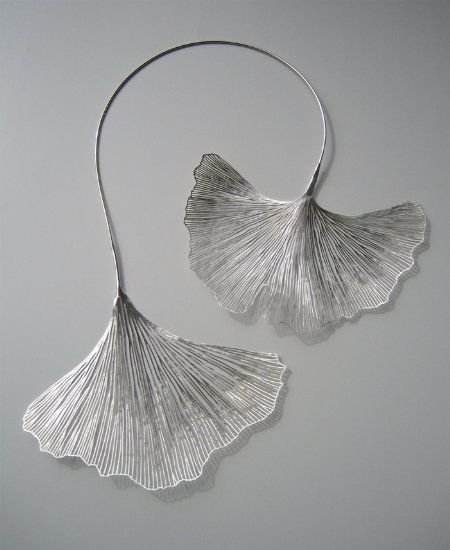 "Necklace | Maria Jauhiainen. ""Gingko"" - Sterling silver."