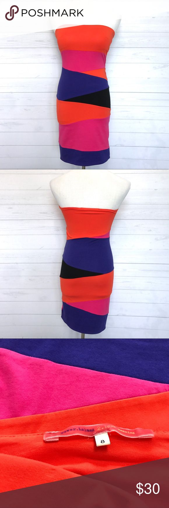 """River Island Triangle Tube Dress Worn once. Still in very good condition. Stretchy. Size 8 US Size 4. Lay Flat Measurement; pit to pit-13"""". Length Approx-27"""". Slightly padded. UK Brand. Color-Orange, Fuchsia, black, purple. No Trades. No low ball offers. *J001 River Island Dresses Strapless"""
