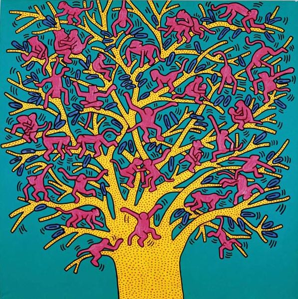 """Painting by Keith Haring,1984, """"The Tree of Monkeys"""", acrylic on canvas."""