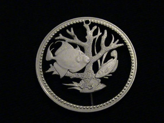 Bermuda  cut coin pendant / charm  w/ Tropical  Fish  by Petsalad, $68.00