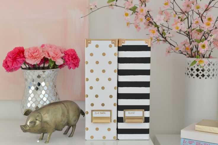 Glam DIY: Kate Spade Inspired Magazine Holders — 204 Park Based on Ikea and craftstore supplies