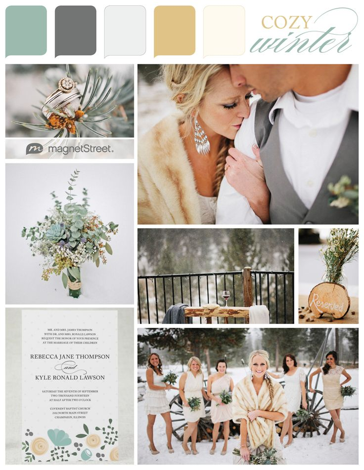 mint, gray, silver, and gold -- pretty winter wedding colors....i never would even think about having a winter wedding but this is adorable! and who wouldn't want a fur?!